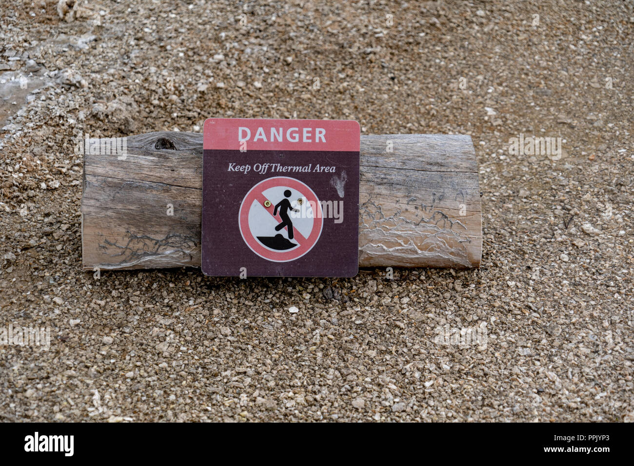 A log with a warning sign warns tourists and visitors to stay out of the thermal areas in Yellowstone National Park. Hot Spring pools reach high tempe - Stock Image