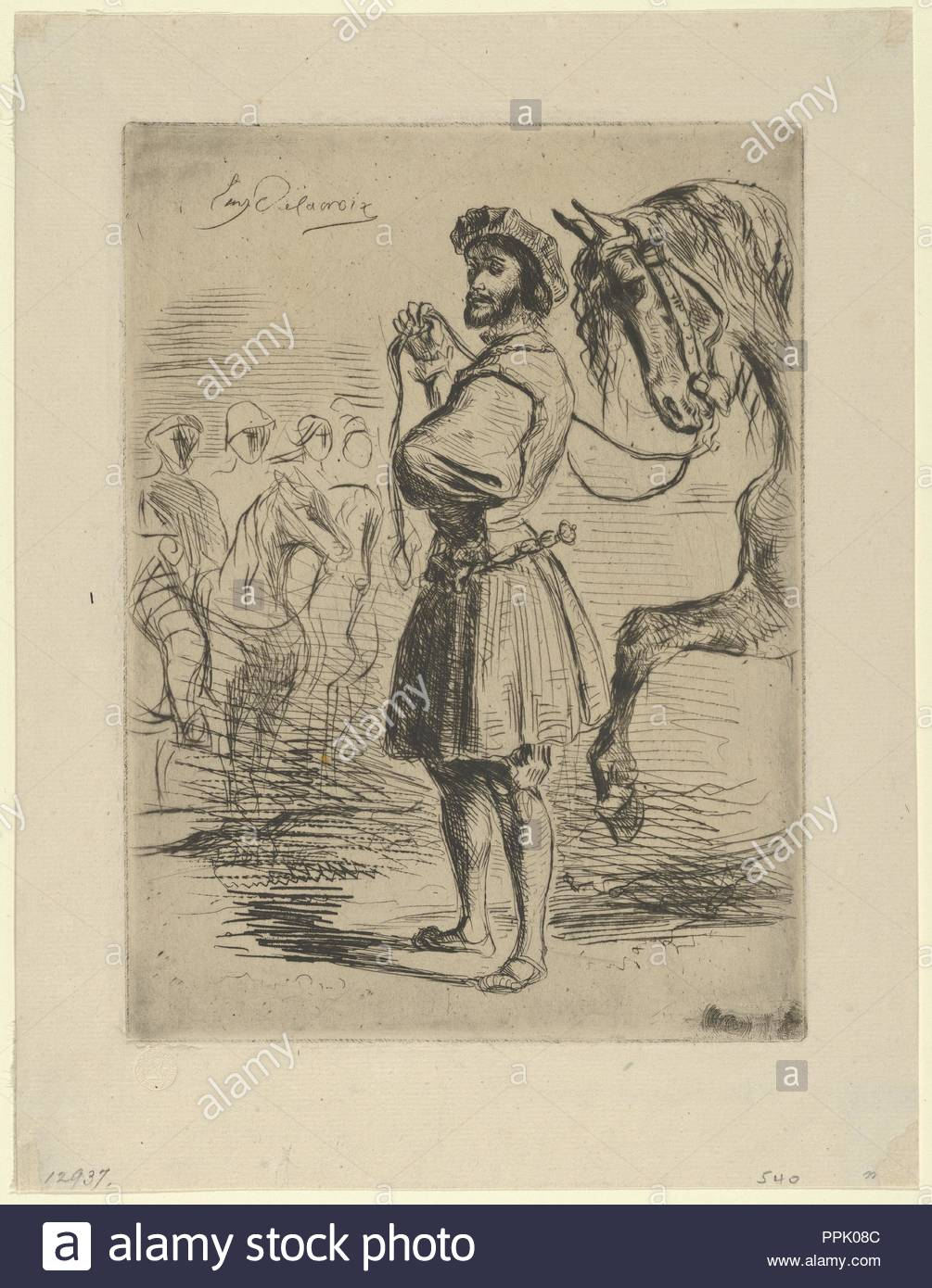 A Nobleman from the Time of Francis I. Artist: Eugène Delacroix (French, Charenton-Saint-Maurice 1798-1863 Paris). Dimensions: Plate: 7 1/16 x 5 1/4 in. (18 x 13.3 cm)  Sheet: 9 1/8 x 6 15/16 in. (23.1 x 17.7 cm). Date: 1833. Museum: Metropolitan Museum of Art, New York, USA. - Stock Image