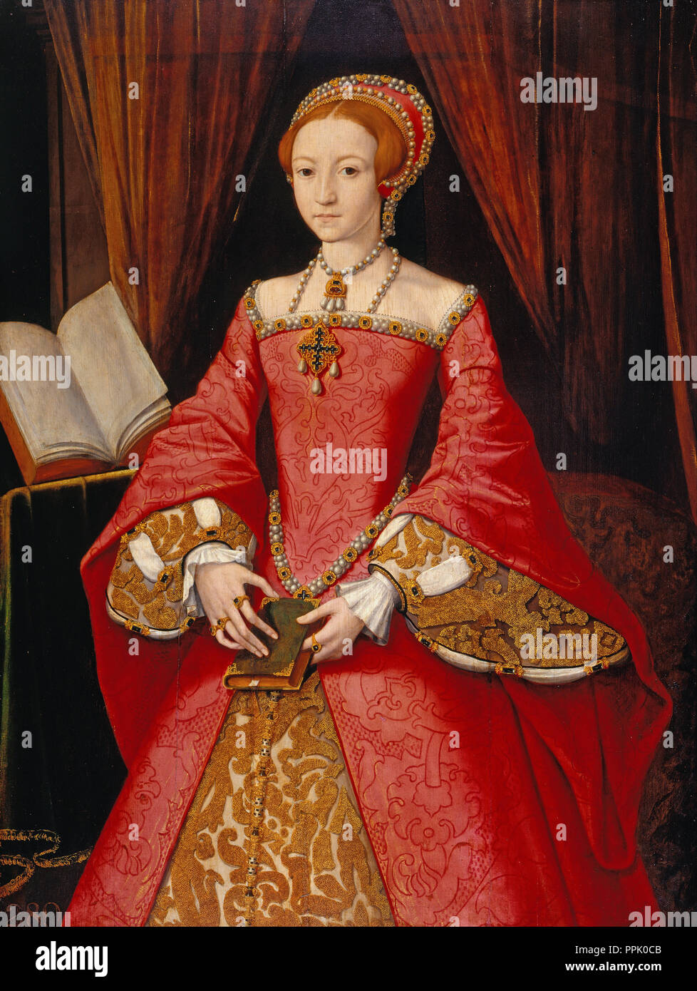 Elizabeth I when a Princess (1533-1603). Date/Period: 1546 - 1547. Painting. Height: 108.5 cm (42.7 in); Width: 81.8 cm (32.2 in). Author: Attributed to William Scrots. SCROTS, WILLIAM. - Stock Image