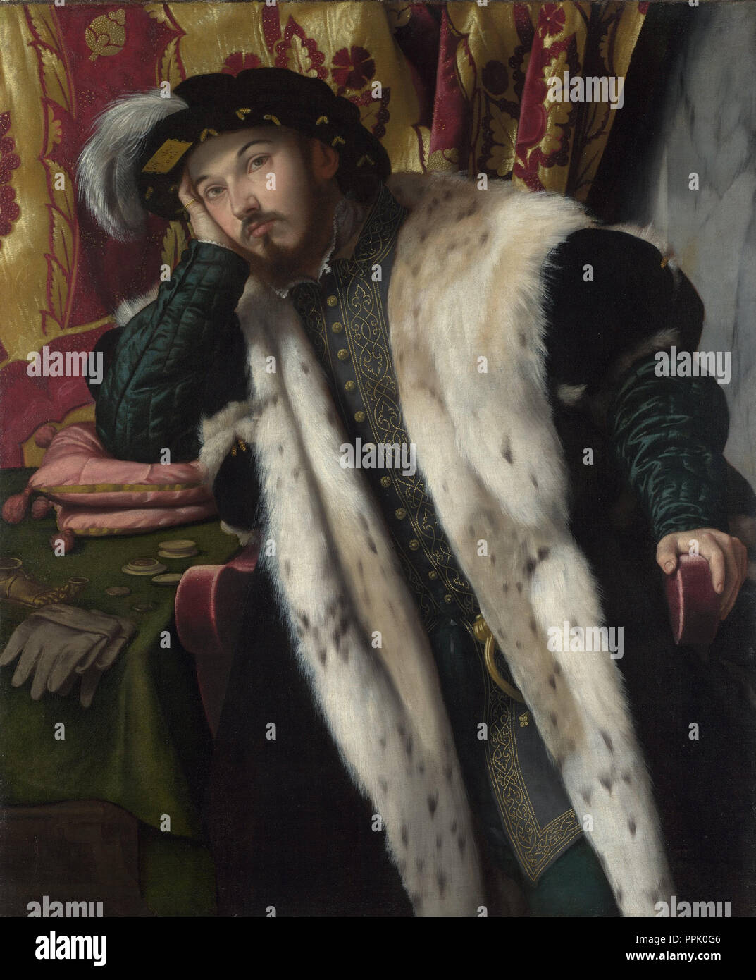 Portrait of Count Fortunato Martinengo Cesaresco (?). Date/Period: Between ca. 1540 and ca. 1542. Painting. Oil on canvas. Height: 114 cm (44.8 in); Width: 94.4 cm (37.1 in). Author: MORETTO DA BRESCIA. MORETTO DA BRESCIA, ALESSANDRO. - Stock Image