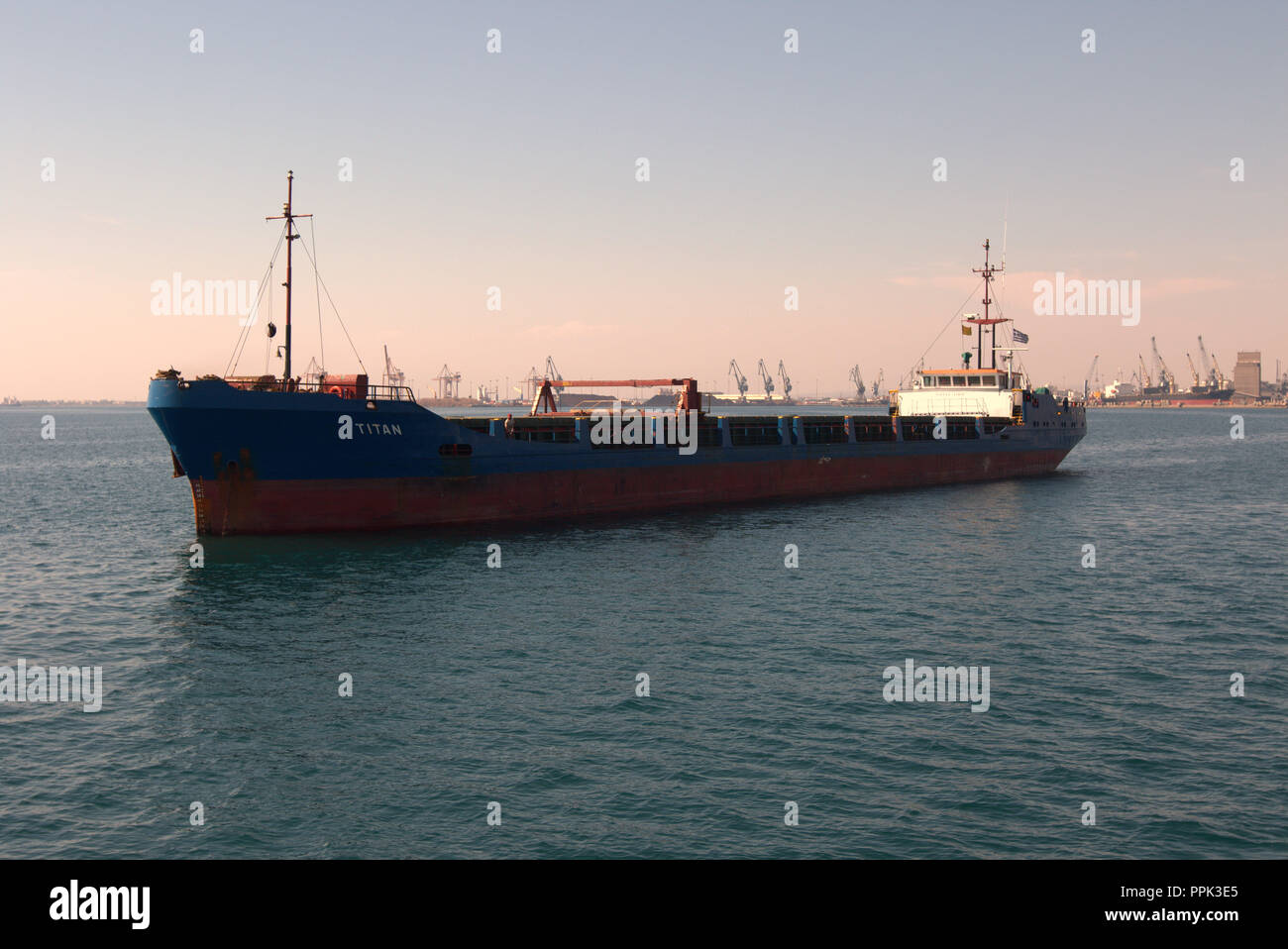 CROWN II chemical and oil products tanker at anchor near the port of Thessaloniki, Greece's second largest city. Stock Photo