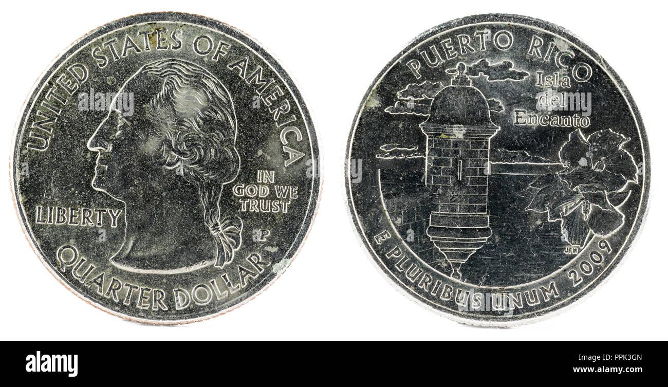United States Coin. Quarter Dollar 2009 P. Puerto Rico. Stock Photo