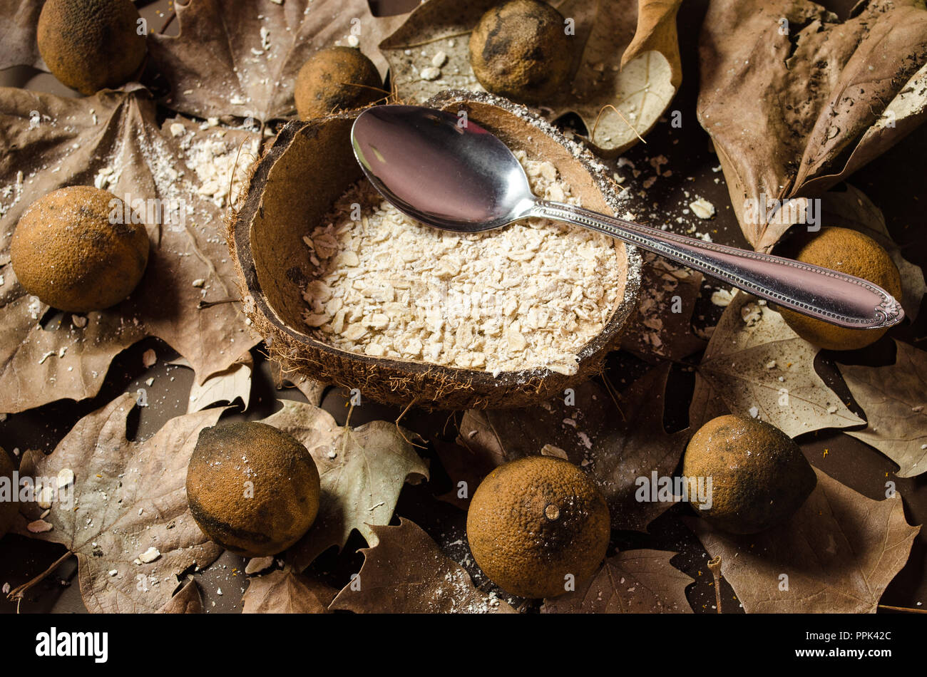 Oatmeal dish served in the middle of a dry coconut, garnished with dried and yellowish lemons, dried leaves on a brown background. - Stock Image