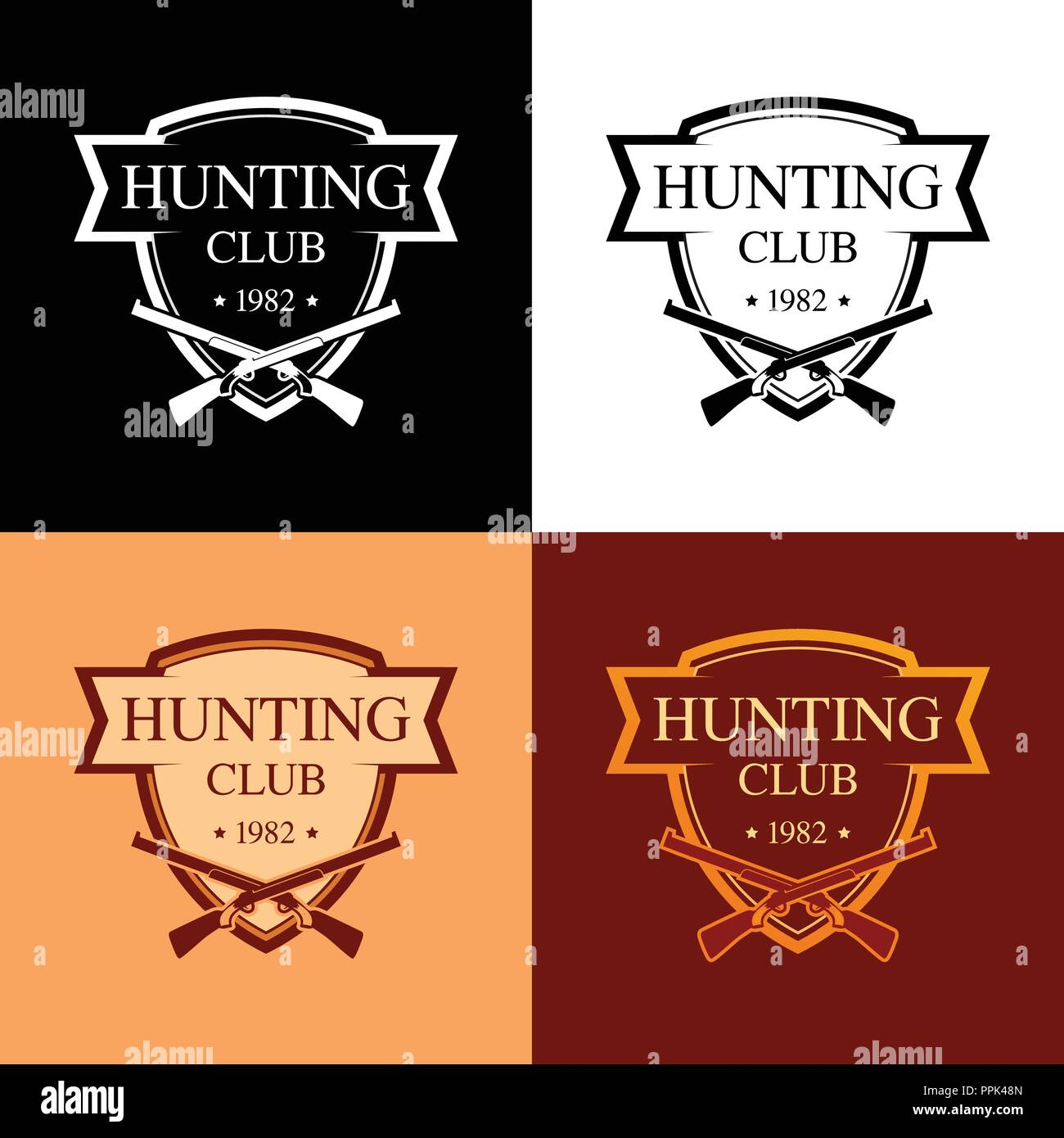 Set of Logotypes for Hunter Club in the form of a Coat of Arms - Stock Vector