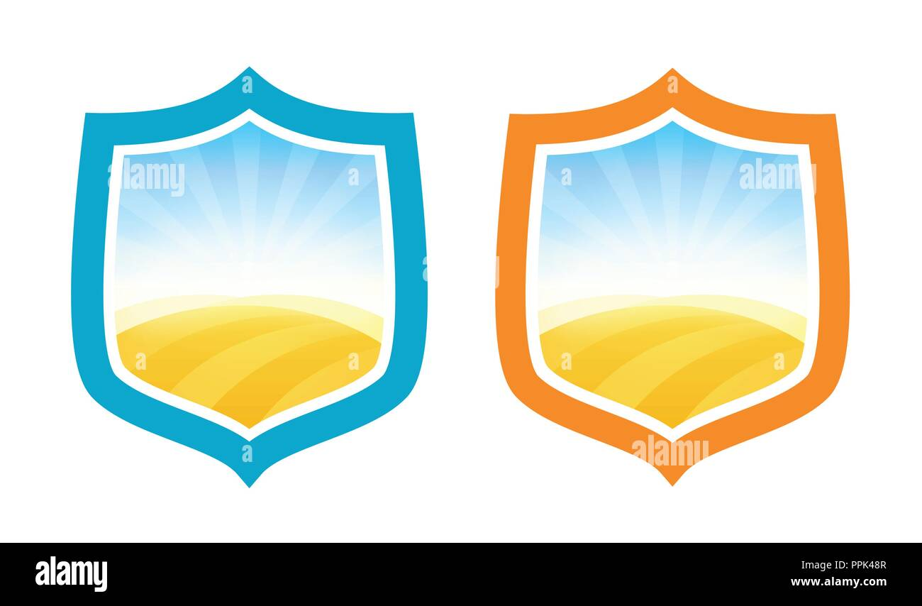 Shield Badges with Farm Field of Wheat - Stock Vector
