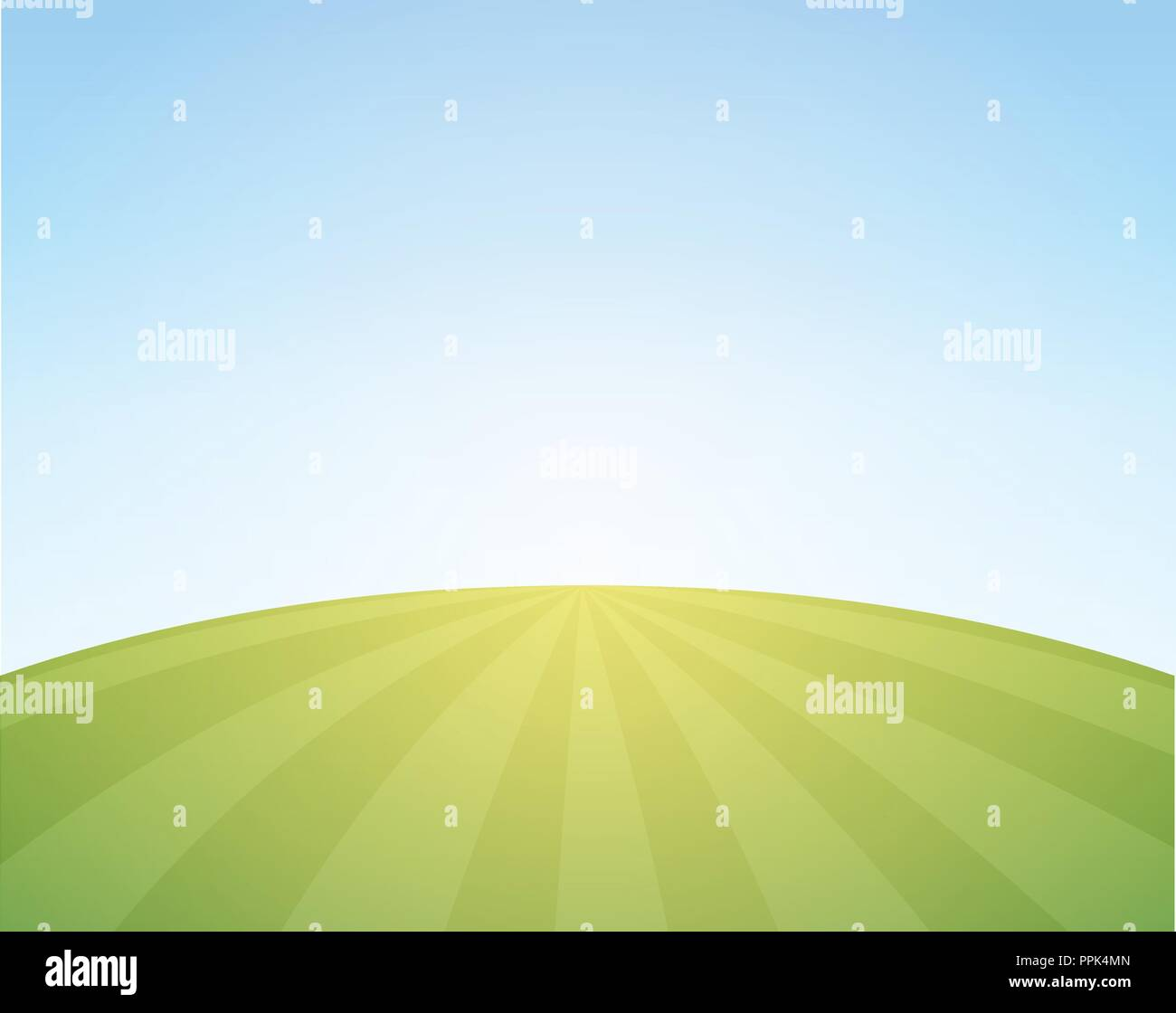Vector Scenic Background of Countryside - Illustration with Wheat Field under blue sky. - Stock Vector