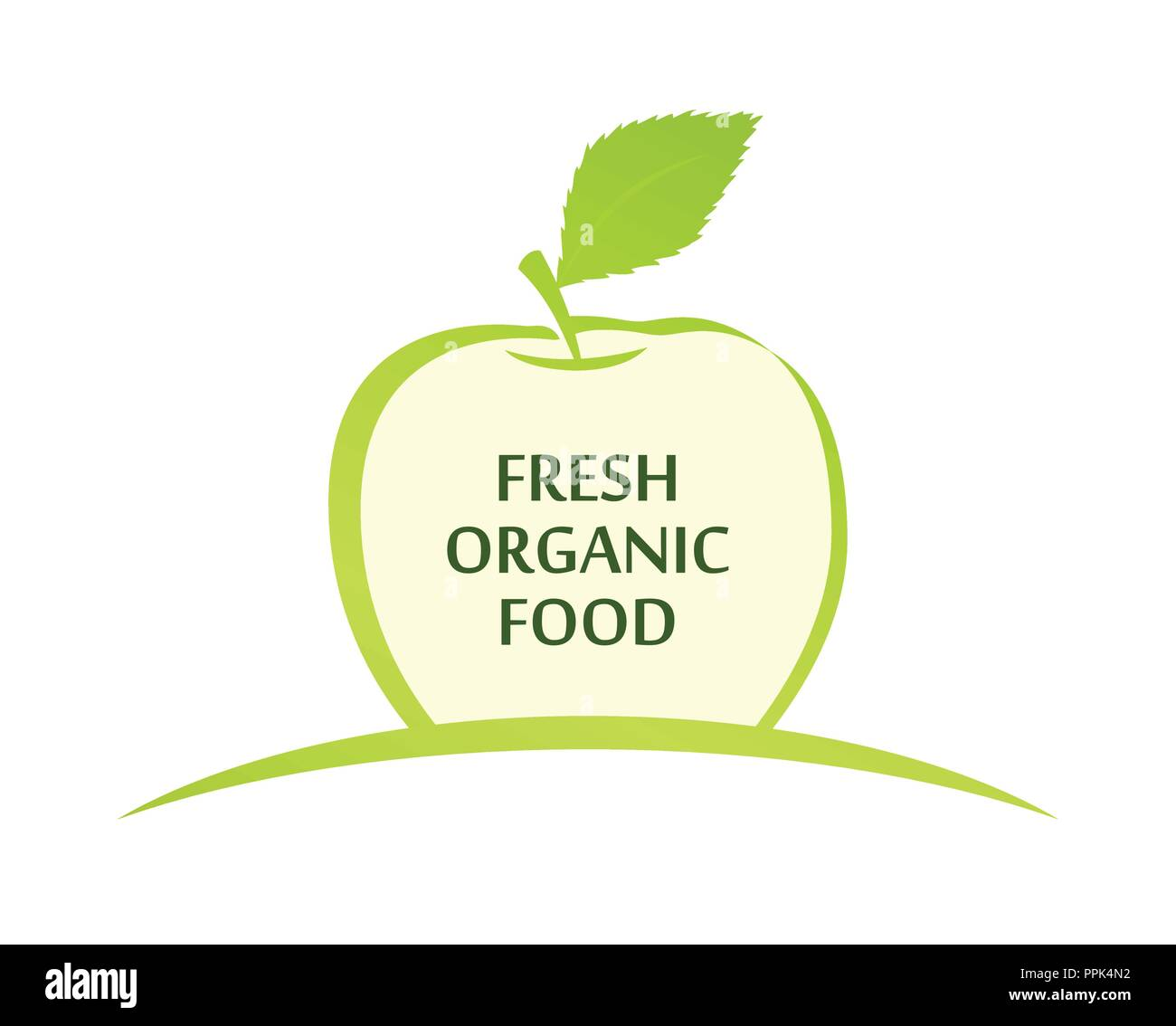 Vector Emblem of Fresh Organic Food with Green Apple Illustration isolated on white background - Stock Vector