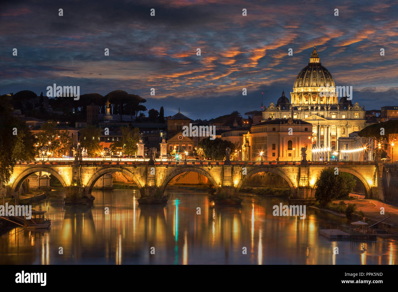 St Peters Basilica and Ponte Angelo - Stock Image