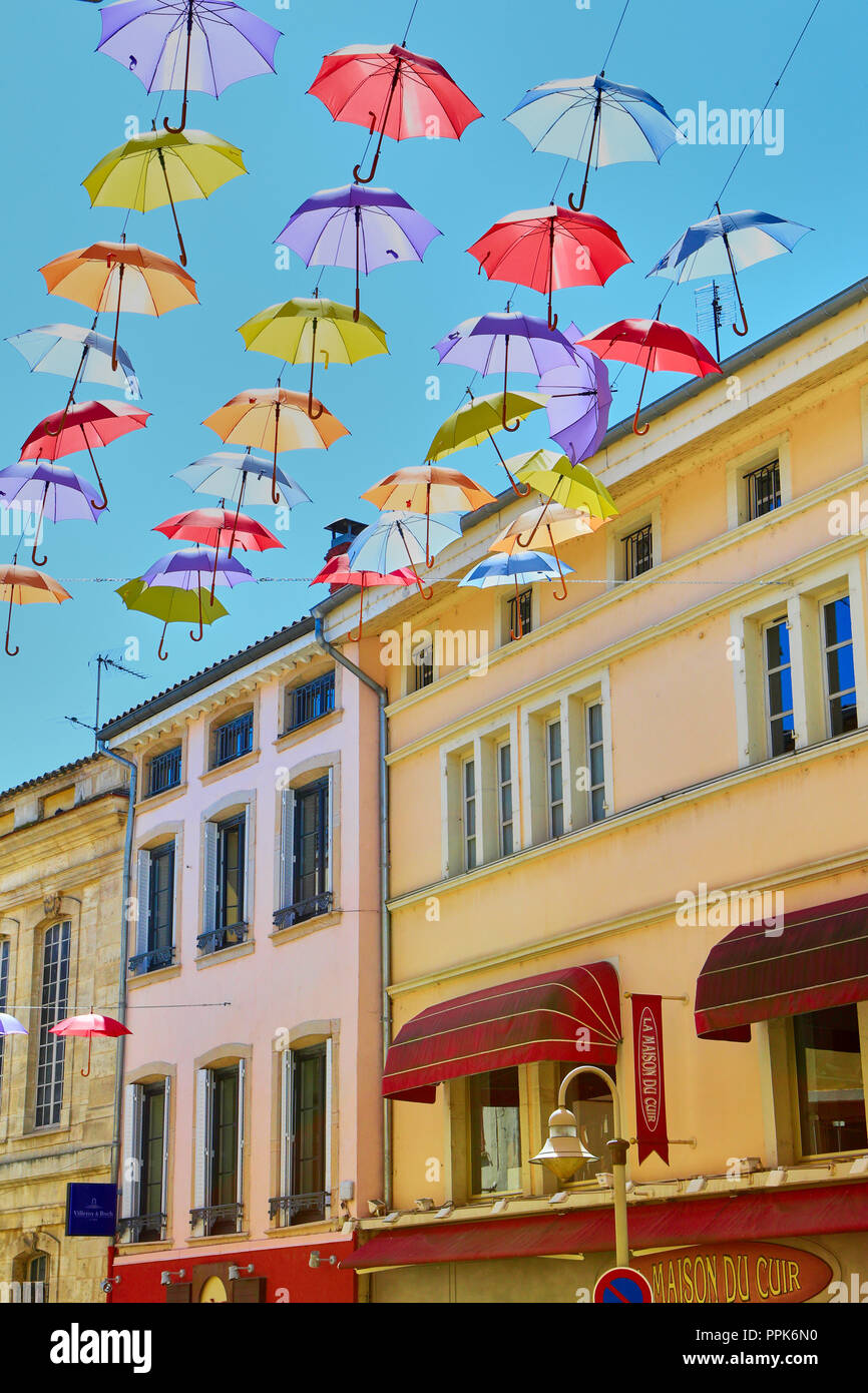 Macon. Colorful umbrellas hanging on the streets. Saône-et-Loire, Bourgogne-Franche-Comté. France. Eurppe Stock Photo