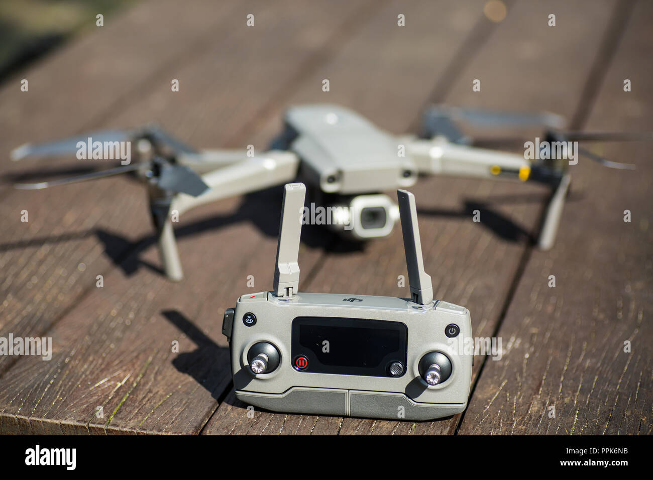 A complete set of Mavic 2 pro and a remote controller (RC) Stock Photo