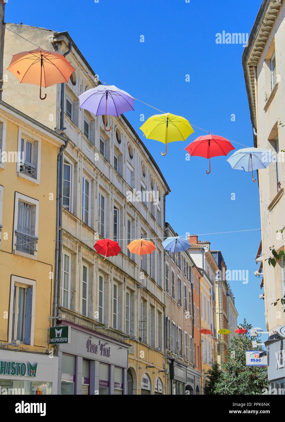 Macon. Colorful umbrellas hanging on the streets. Saône-et-Loire, Bourgogne-Franche-Comté. France. Eurppe Stock Photo