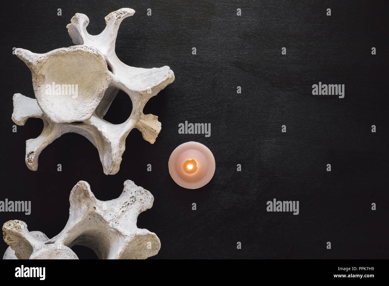 Animal Vertebrae on Black Table with Lit Candle with Space for Copy - Stock Image