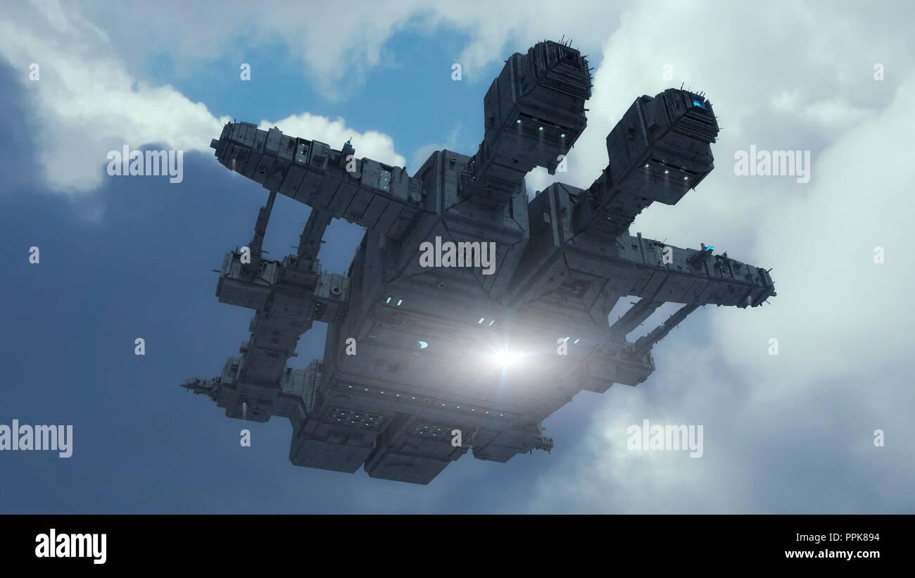 3D rendering. Futuristic alien Spaceship - Stock Image