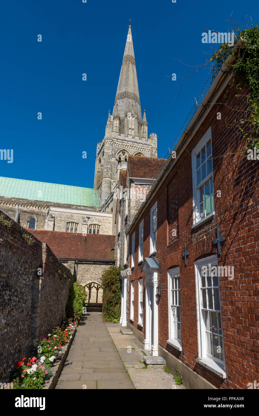 Chichester cathedral, St Richard's walk, off Canon lane, Chichester. - Stock Image