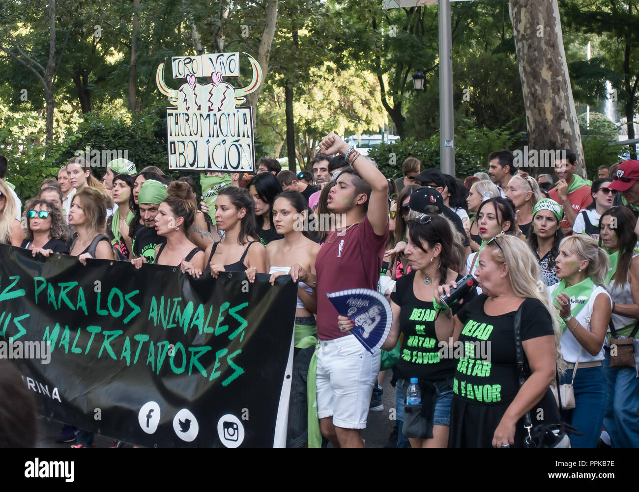 MADRID, SEPT 15, 2018: Marchers protest the killing of bulls in bullfights, and other animal abuse, demanding bullfighting in Spain be abolished. Stock Photo