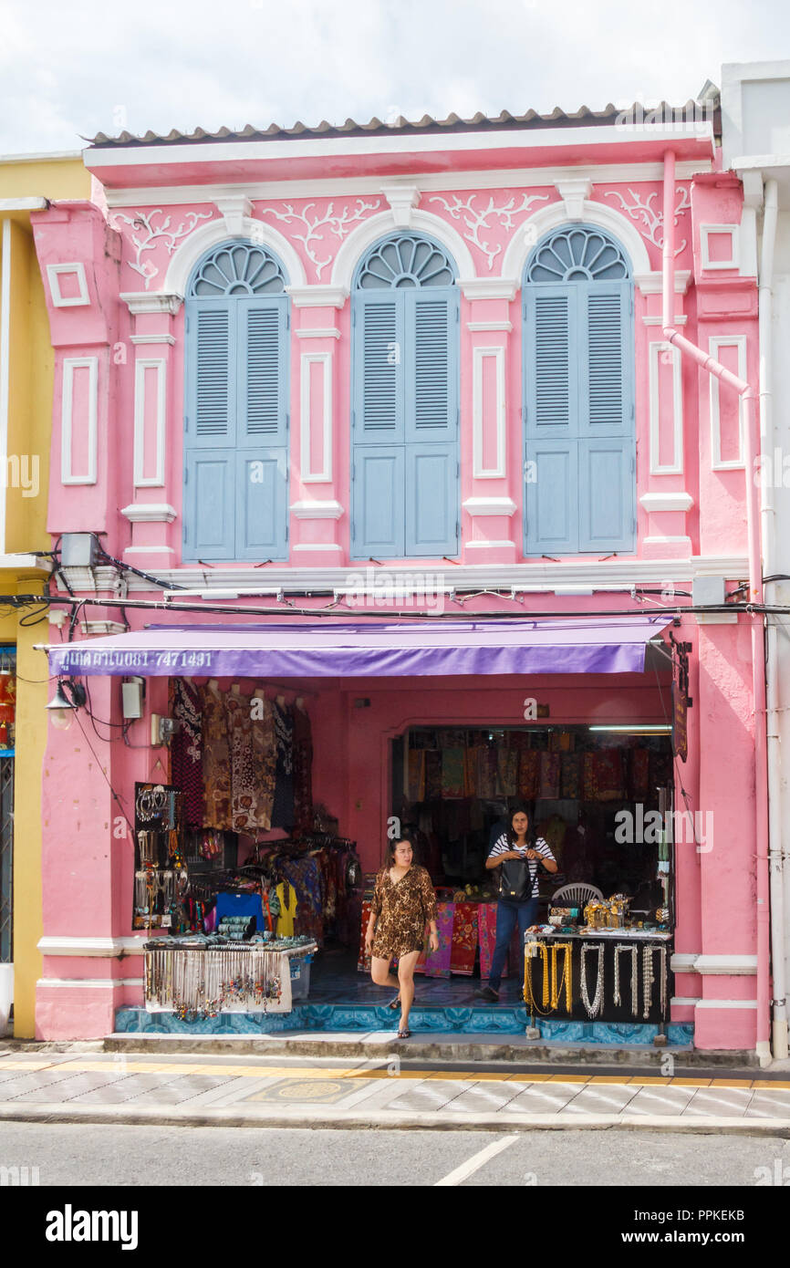 Phuket, Thailand - 2nd September 2018: Sino Portuguese style shophouse on Thalang Road. The old town is famous for its architecture. - Stock Image