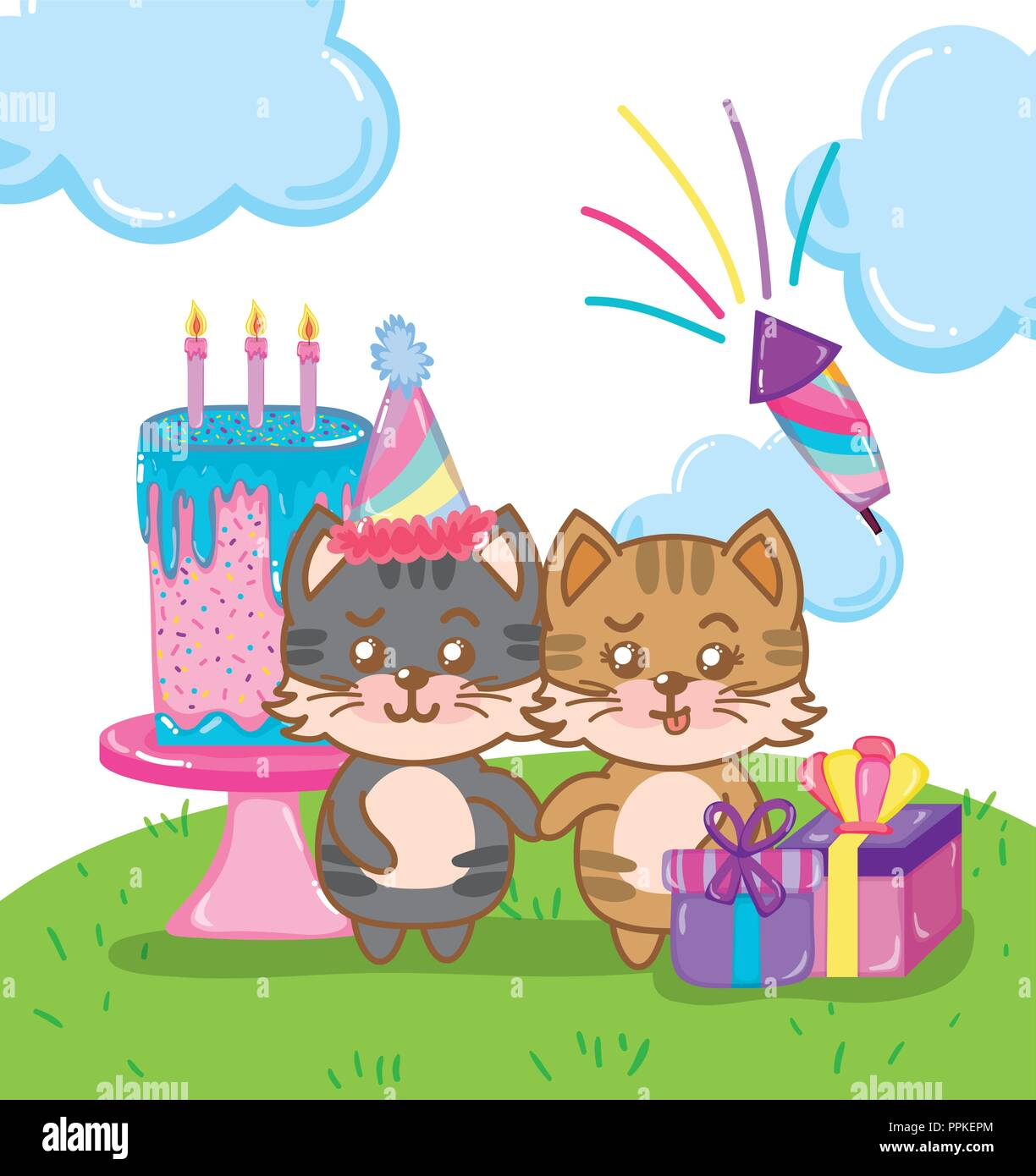 Happy Birthday Cats Stock Vector Art Illustration Image