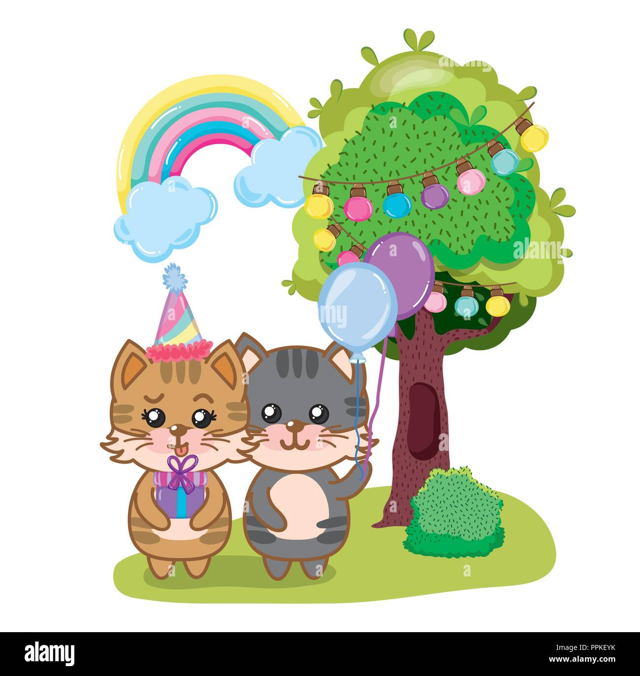 Happy Birthday Cats Stock Vector Art Illustration Image