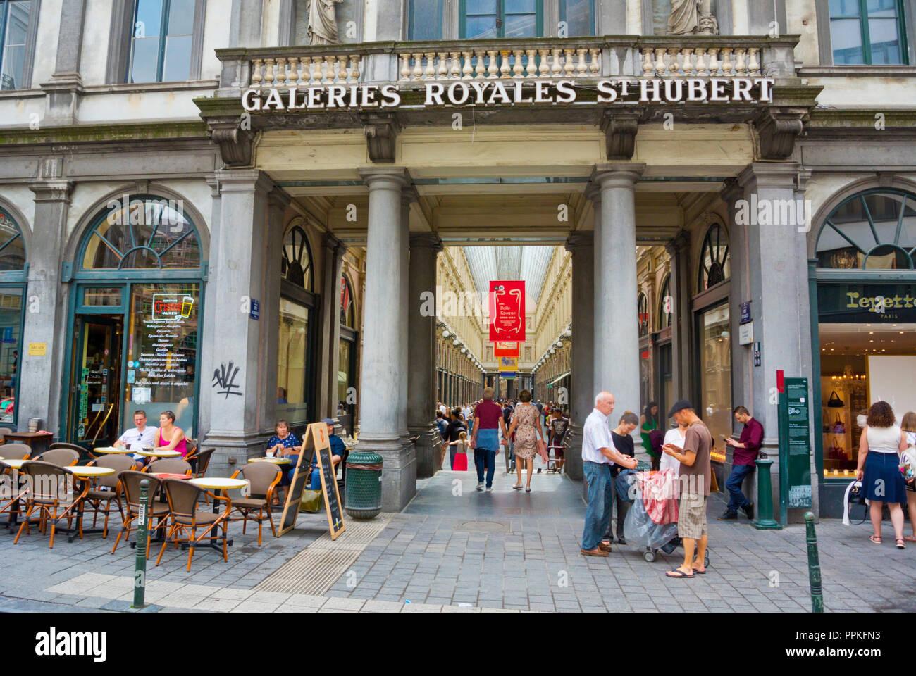 Galeries Royales Saint Hubert, Koningsgalerij, Brussels, Belgium - Stock Image
