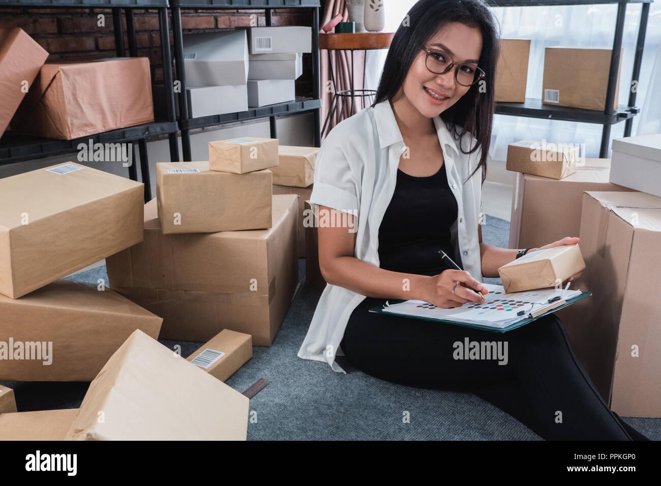 asian woman online seller Stock Photo