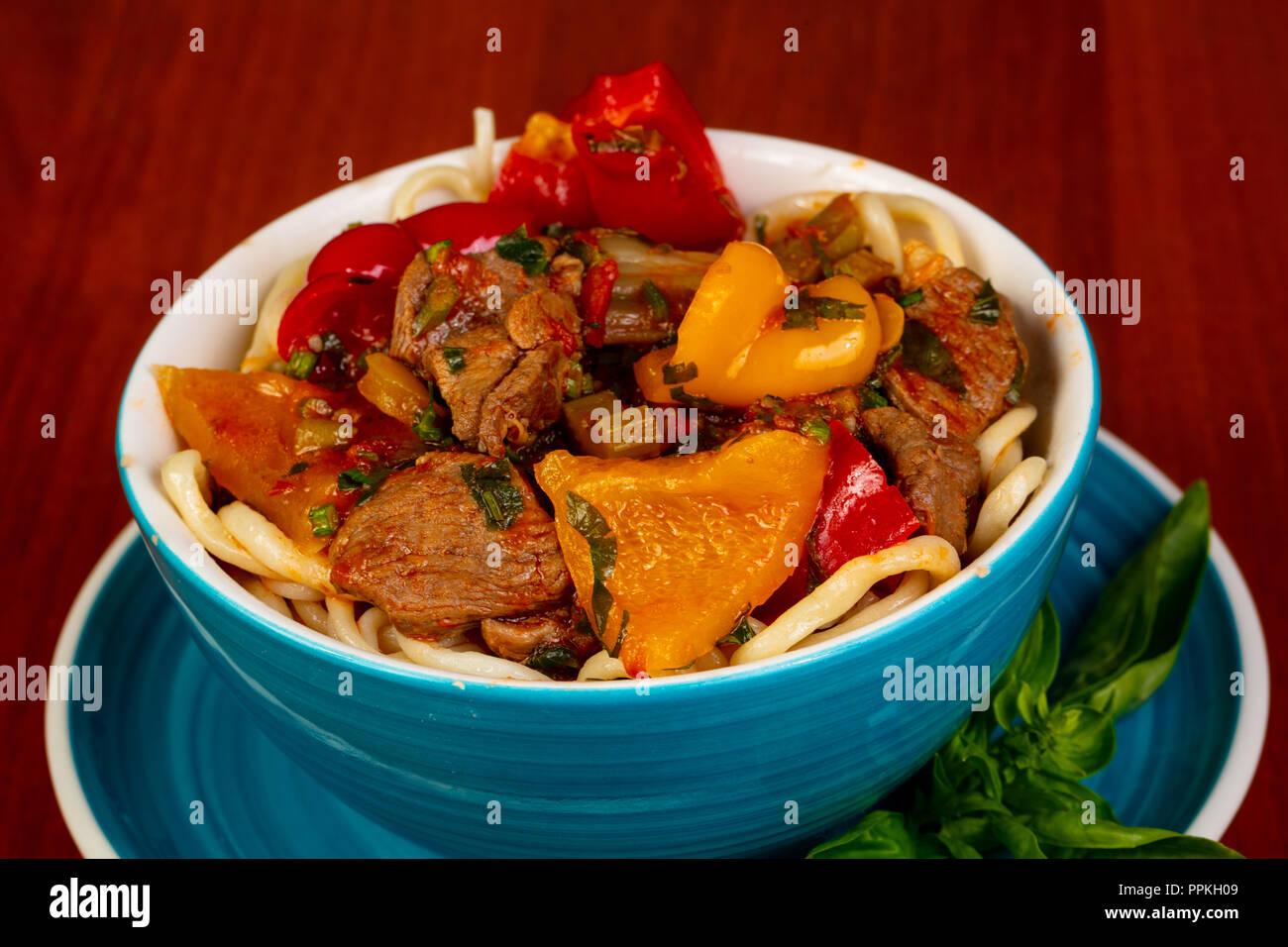 Usbek cuisine - lagman  with meat Stock Photo