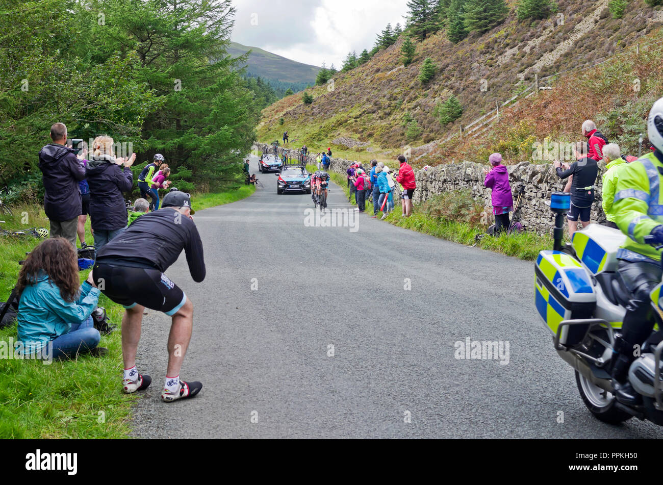 Stage 5 Tour of Britain 2018,Team Time Trial Whinlatter Pass. Cyclists and other spectators applaud and take photos as team Madison Genesis approach. - Stock Image