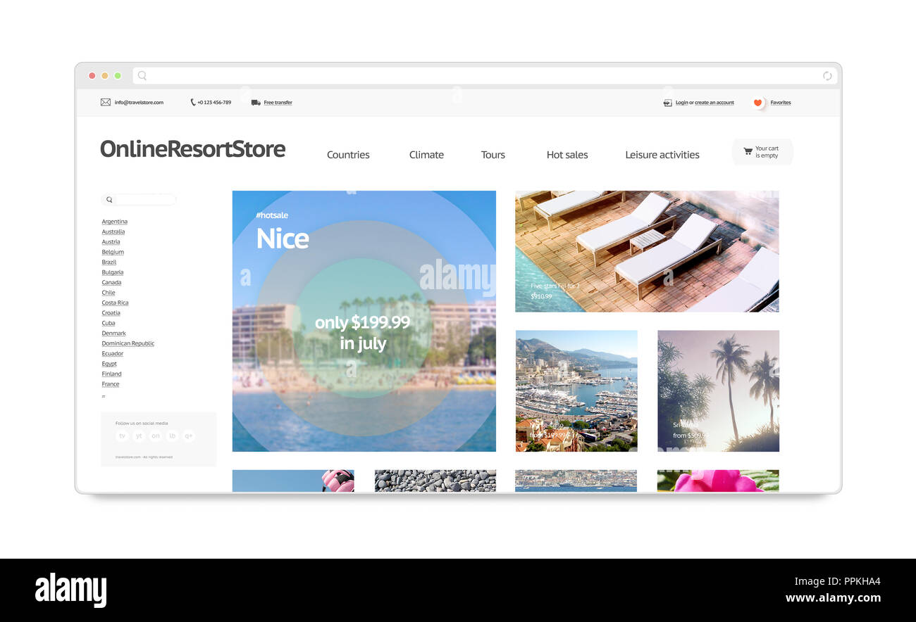Travel resort webstore web site template mockup isolated, 3d rendering. Booking vacation page interface mock up. Internet website template. Computers web store screen layout for computer display. - Stock Image