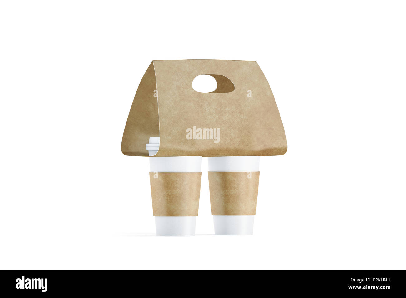 9ae9e540ccf Blank two coffee cups craft carrier holder mockup, side view, 3d rendering.  Empty cofe pack with sleeve and tray mock up. Clean brown drink clutches  for ...