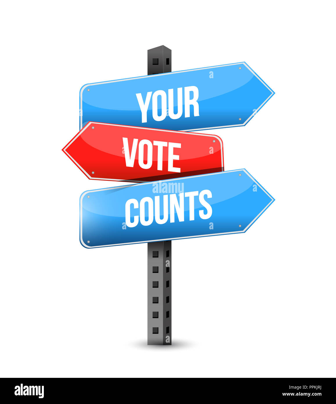 Your Vote Counts Multiple Destination Color Street Sign Isolated