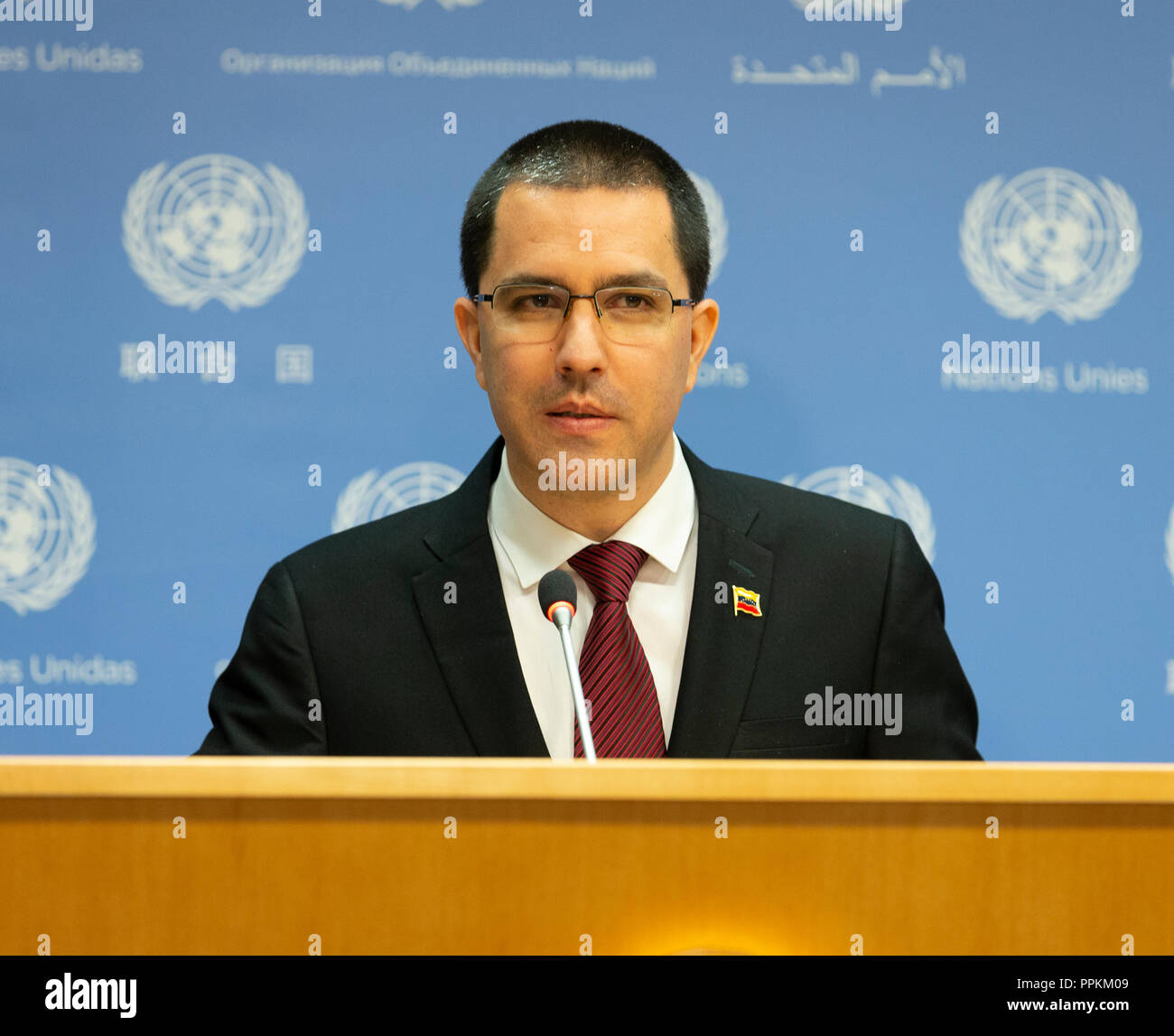 New York, United States. 25th Sep, 2018. Press briefing by Jorge Arreaza Minister for Foreign Affairs of the Bolivarian Republic of Venezuela at United Nations Headquarters. Credit: Lev Radin/Pacific Press/Alamy Live News - Stock Image