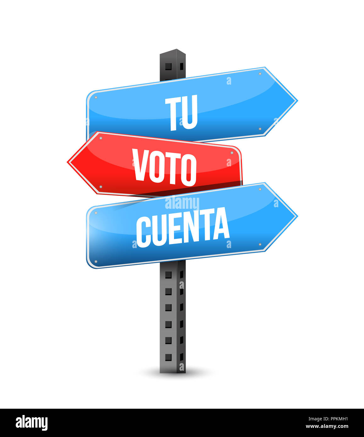 Your Vote Counts In Spanish Multiple Destination Color Street Sign