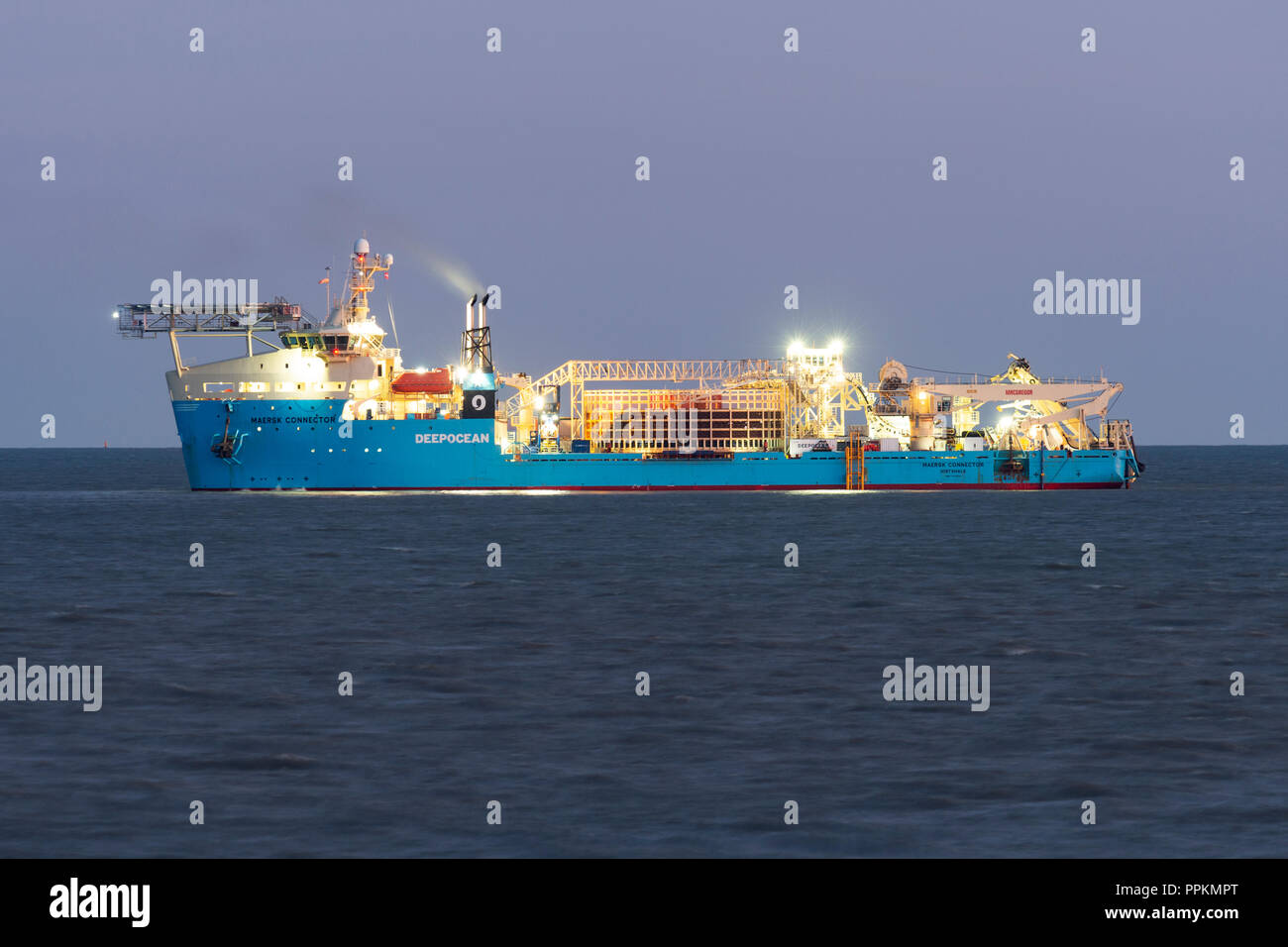 Maersk Connector laying electricity cables to (East Anglia One) a offshore wind farm - Stock Image