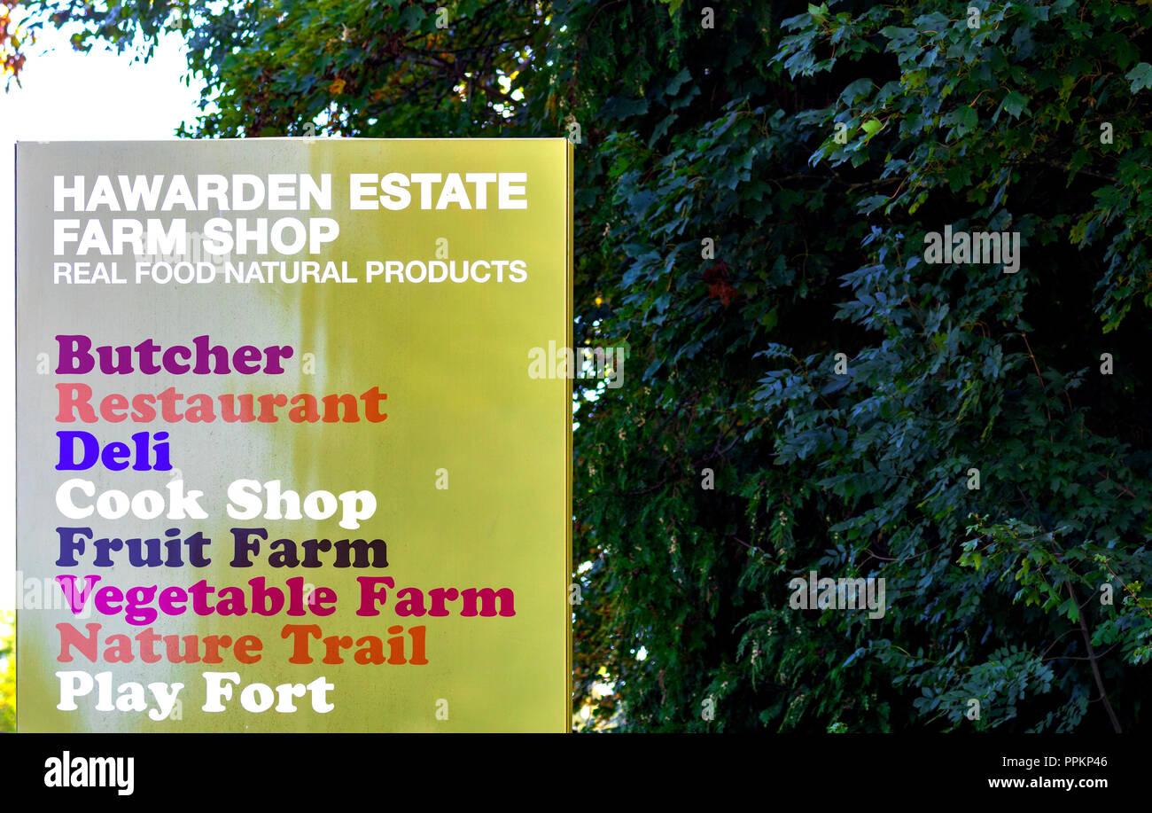 Hawarden Estate Farm Shop sign outside the farm shop in the village of Harwarden, Flintshire, Wales Stock Photo