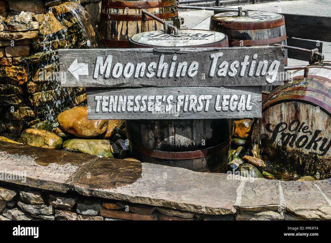 GATLINBURG-AUGUST 8:  Ole Smoky Moonshine tasting sign close up on street in Gatlinburg, Tennessee, USA on August 8, 2016. - Stock Image