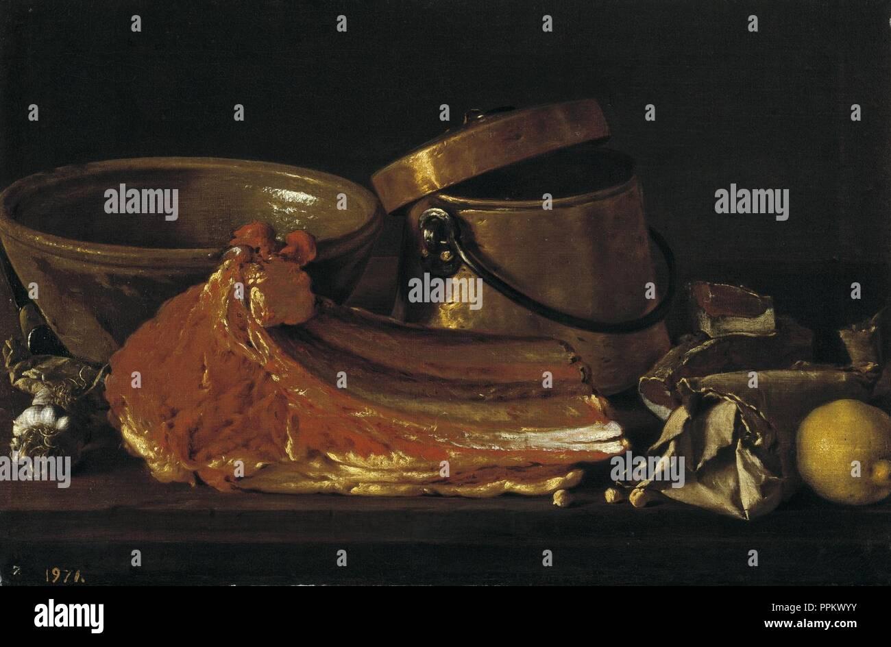 Bodegón chuletón, condimentos y recipientes,-meléndez. Stock Photo