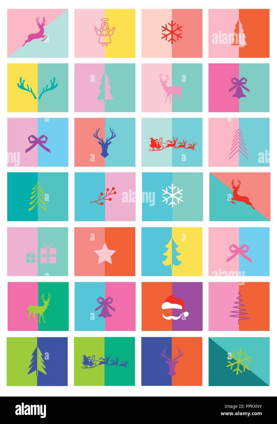 Christmas cards, advent calendar, 28 modern colorful layout ...