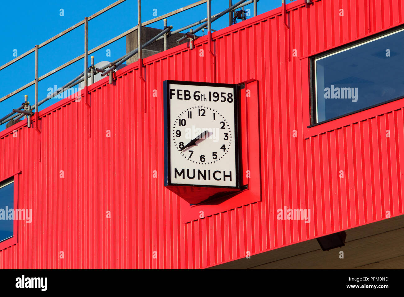 Clock on Old Trafford, Manchester United's home stadium, showing the date and time of the Munich air crash - Stock Image