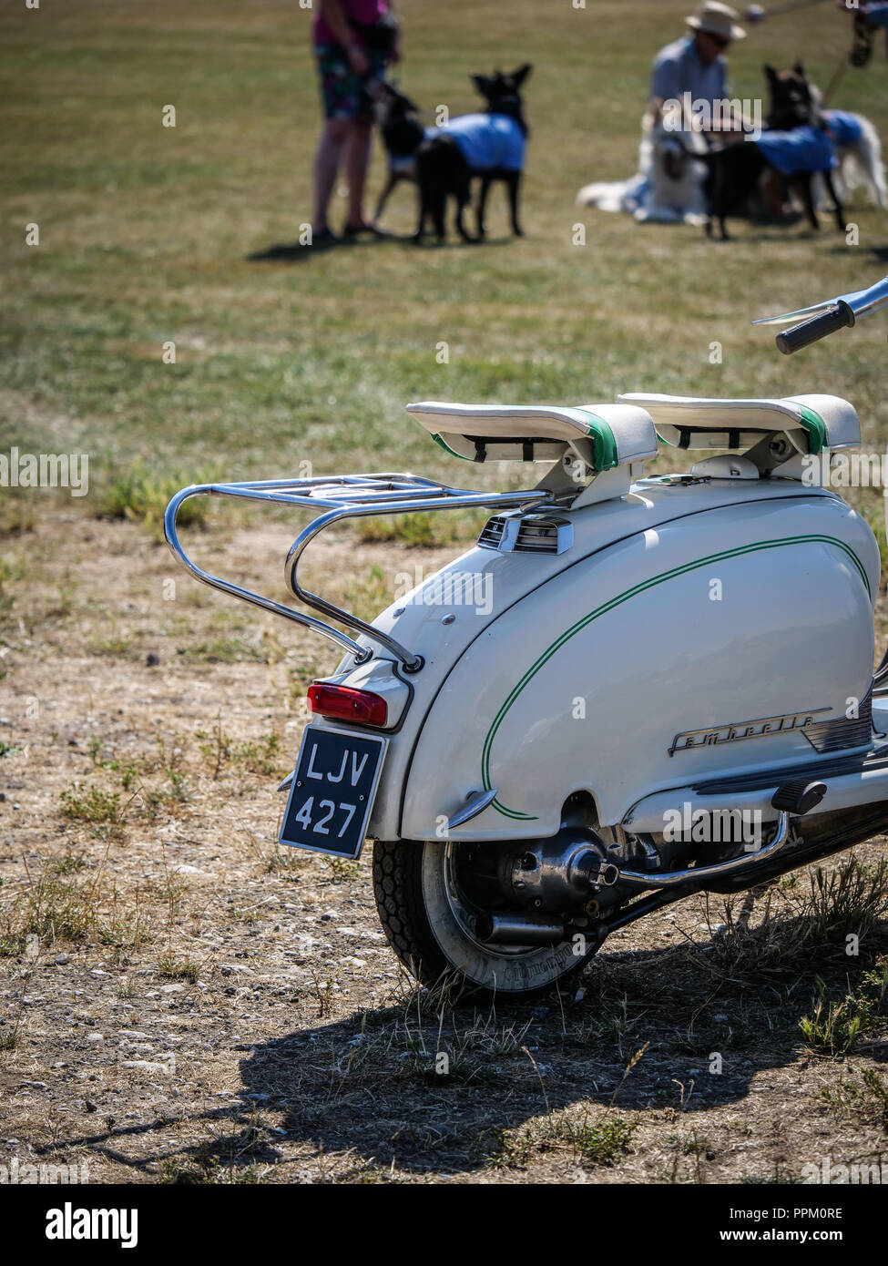 Vintage Retro Style Lambretta At A Summer Dog Show Event Stock Photo Alamy