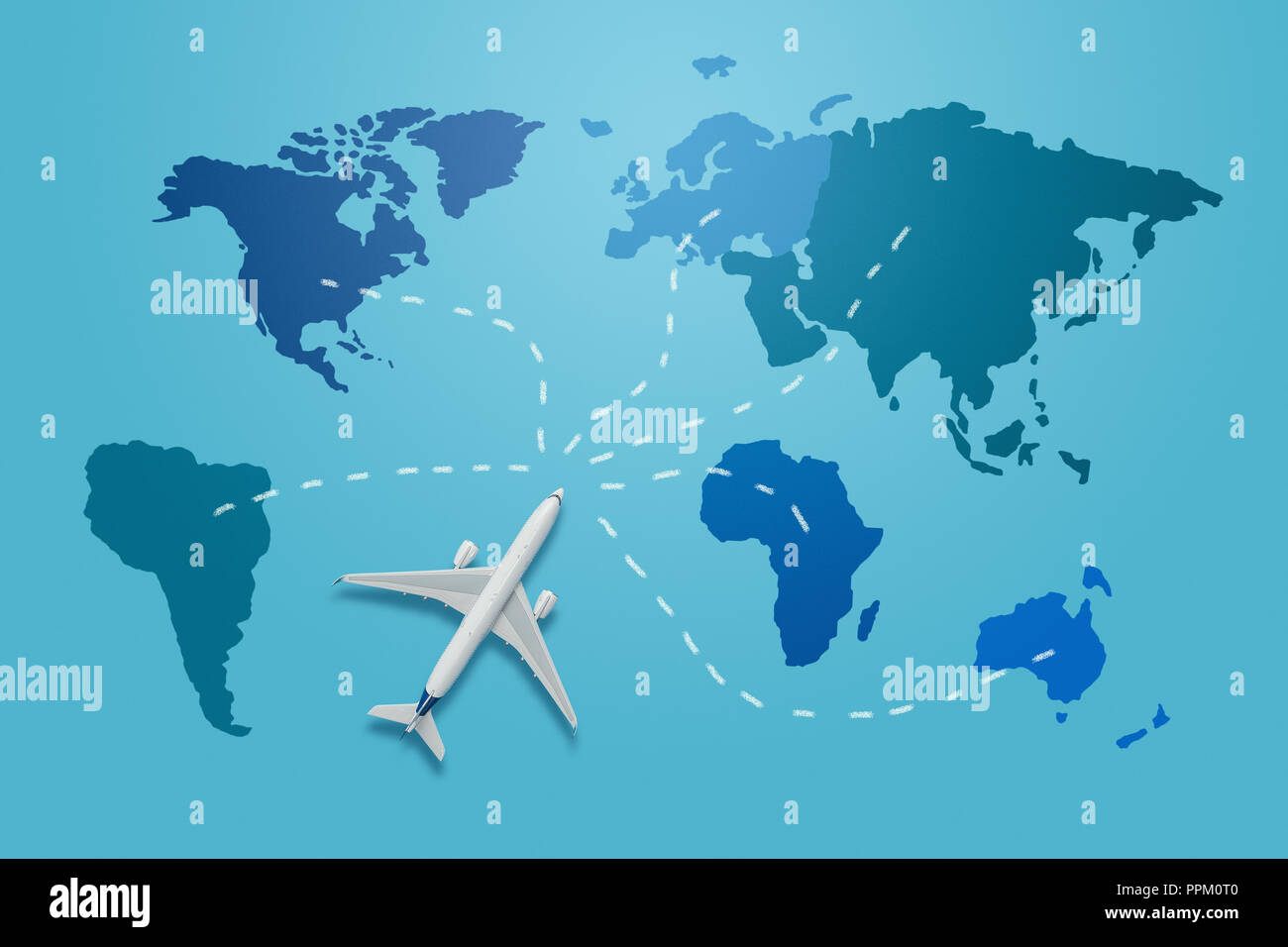 Travel Around The World Concept Small Plane Model On The Blue World