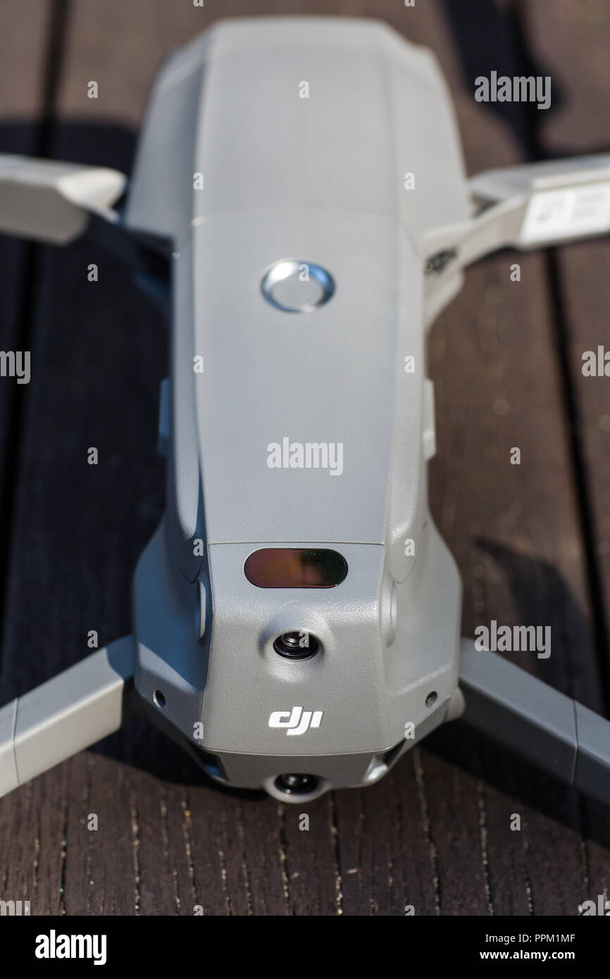 Body of a mavic 2 pro with the aircraft arms opened. Stock Photo