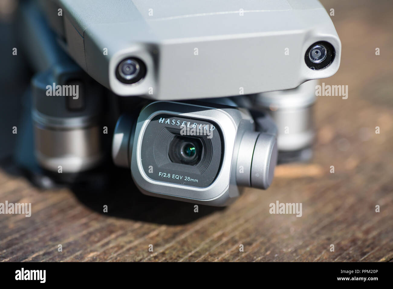 Close up of Hasselblad camera mounted on a mavic 2 pro with a