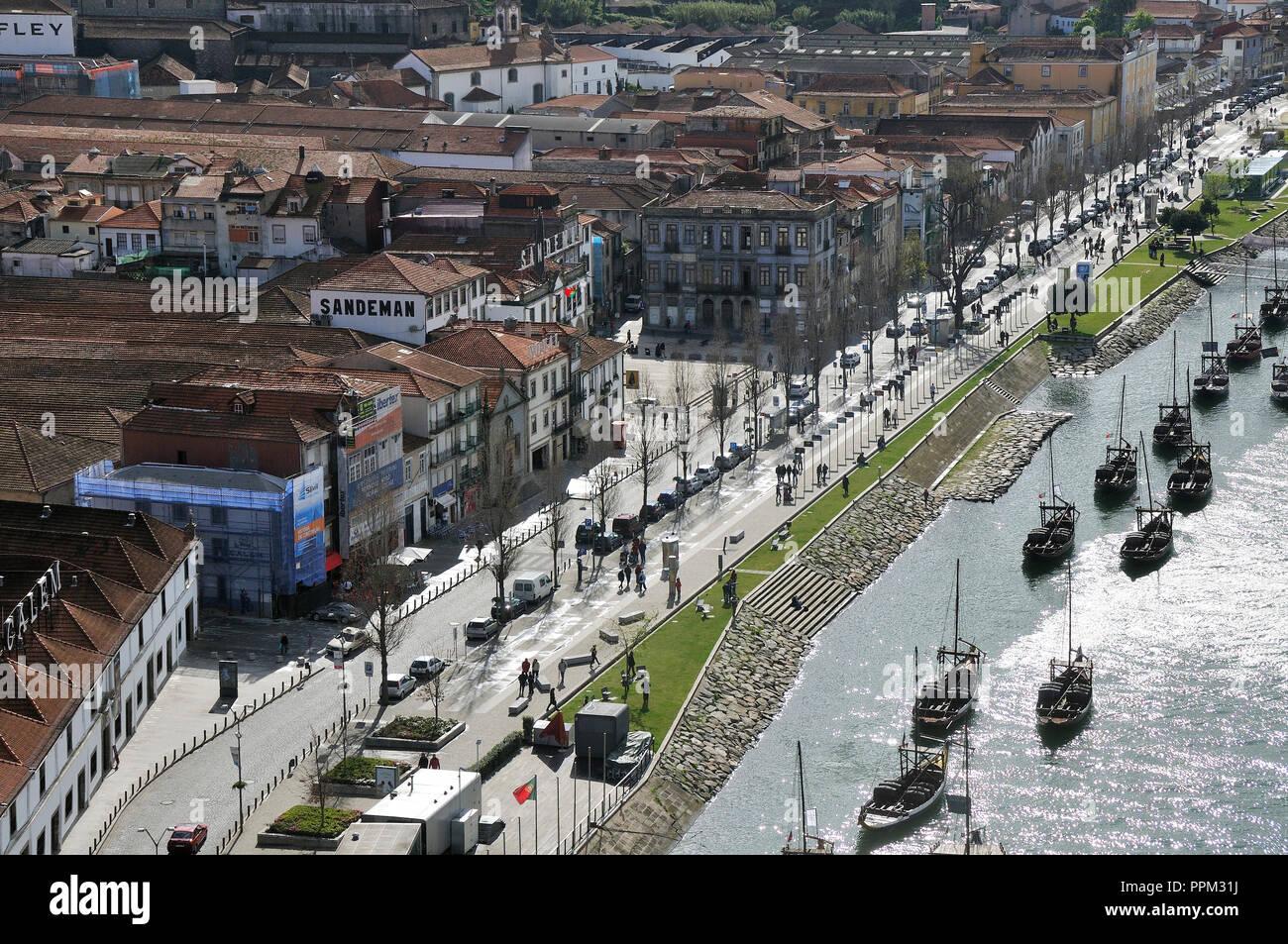 Rabelos boats at Vila Nova de Gaia. Douro river, Portugal Stock Photo