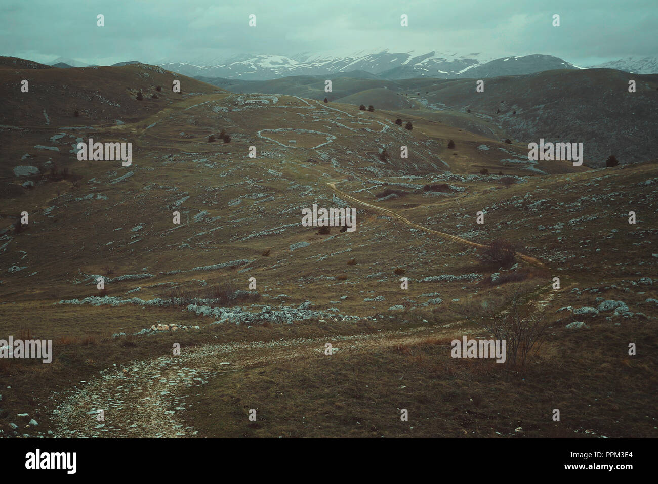 Desolate mountain trails. Abruzzo, Italy - Stock Image