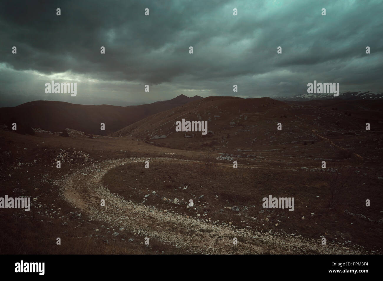 Desolate landscape in Abruzzo. Italy - Stock Image