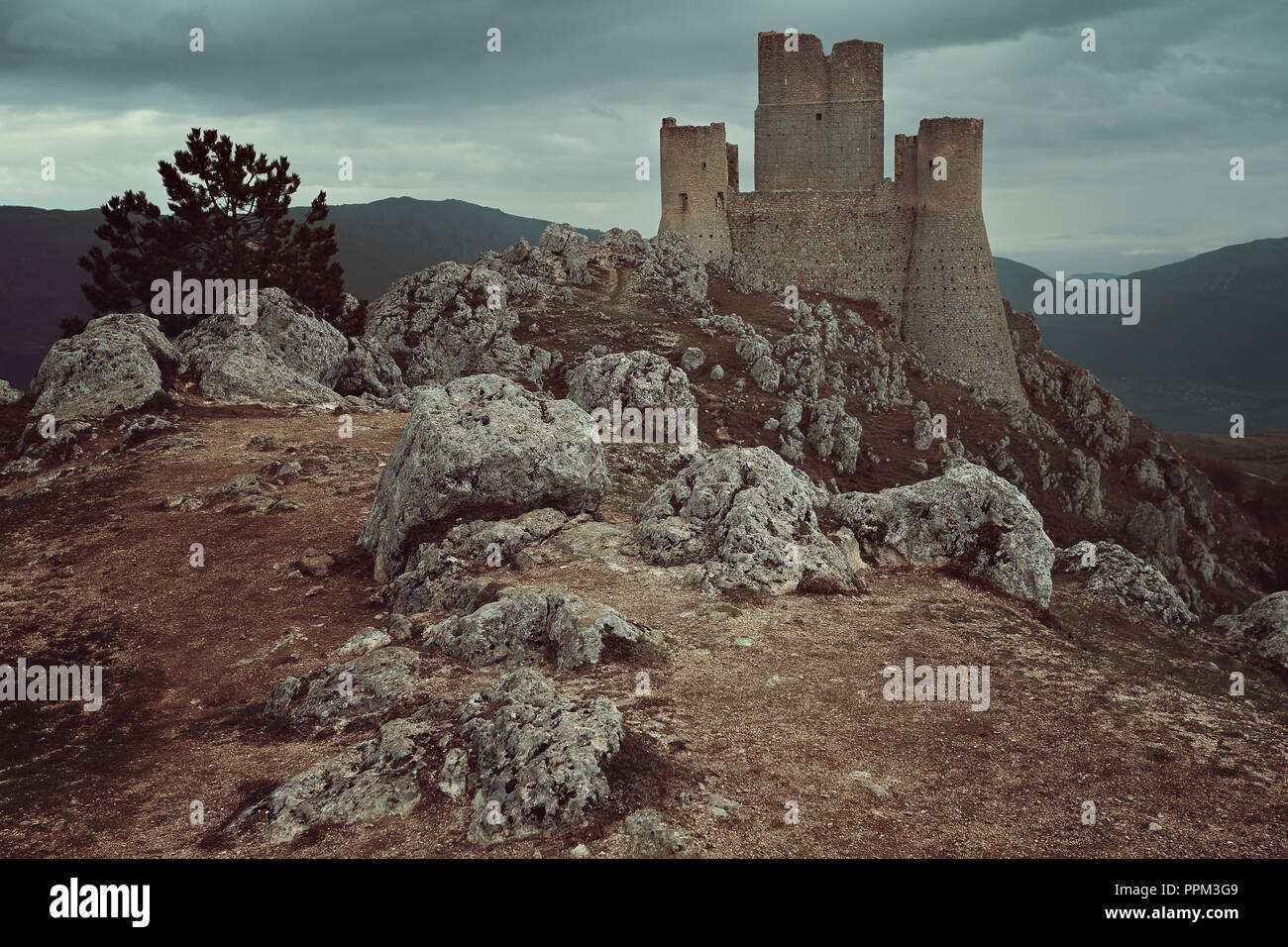 High castle of Calascio. Abruzzo, Italy - Stock Image
