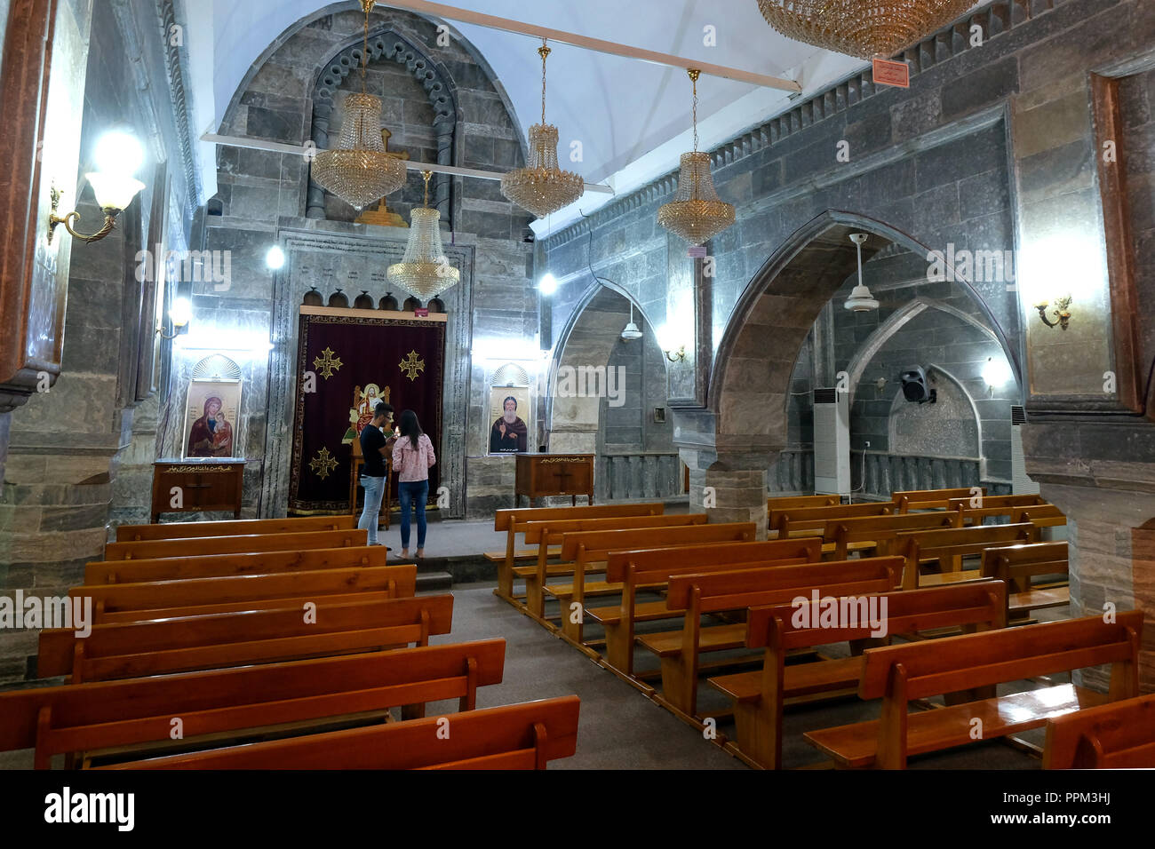 Syrian Orthodox Monastery Mar Mattai (St. Matthias Monastery) on the edge of the Nineve Plain - Syrisch-orthodoxes Kloster Mar Mattai (St. Matthias-Kloster) am Rande der Nineve-Ebene Stock Photo