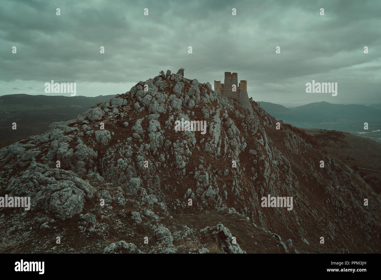 Old castle of Calascio in Abruzzo, Italy - Stock Image