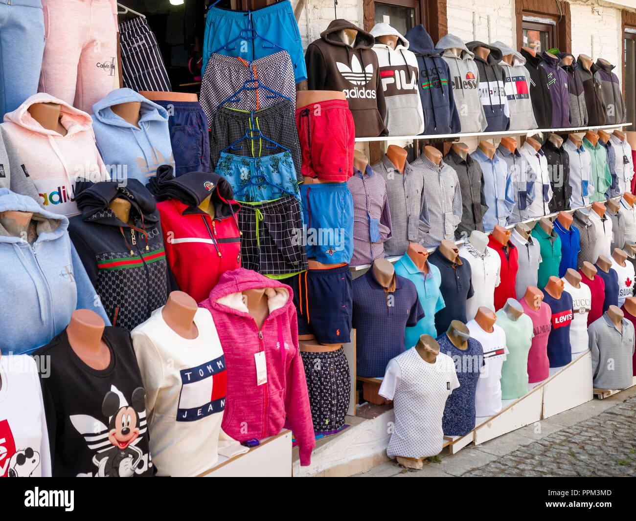 b207ee8c1e4b Counterfeit or fake designer clothing for sale outside shop in the busy  harbour area of Kalkan