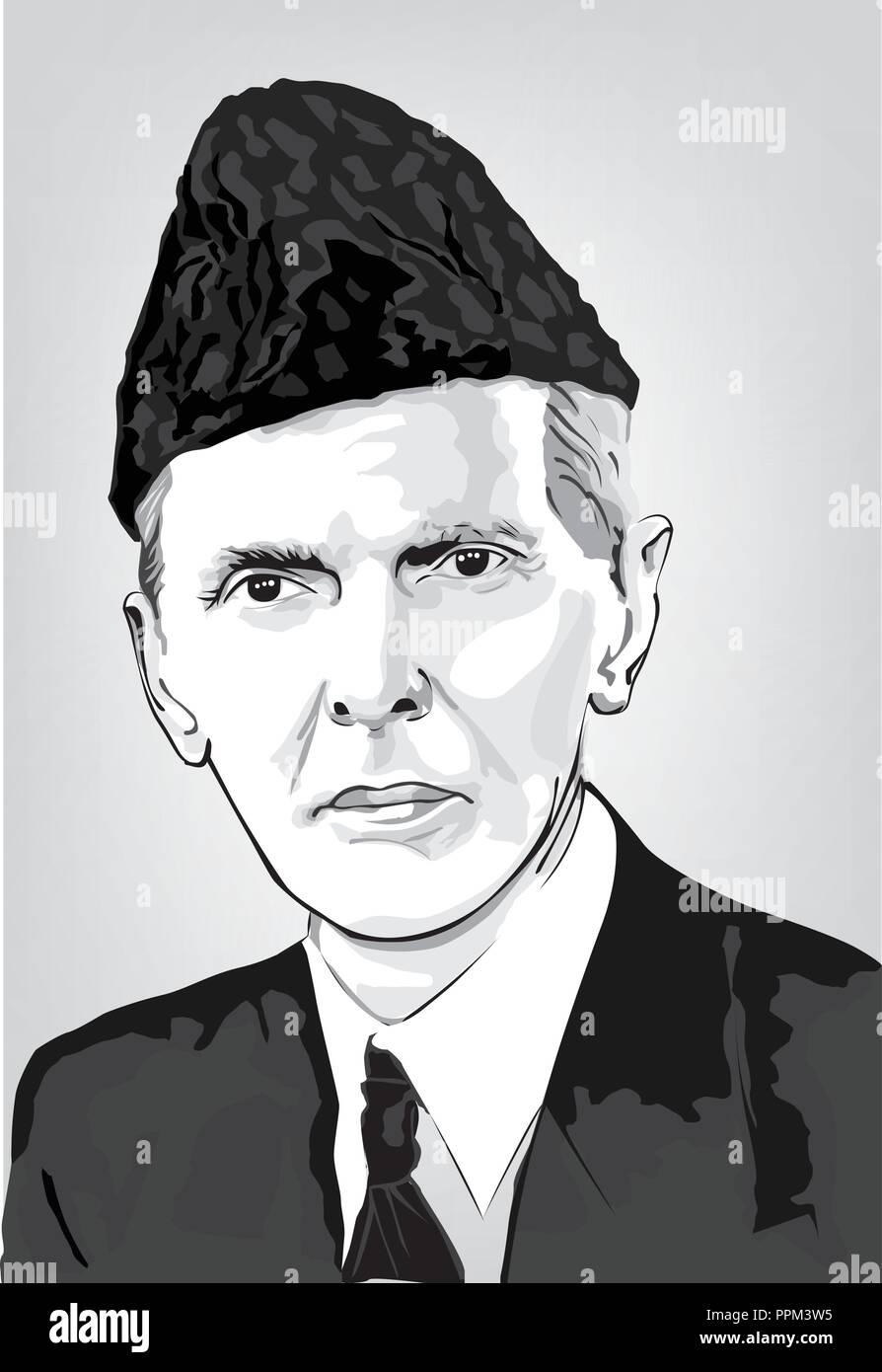 Jinnah vector illustration - Stock Image