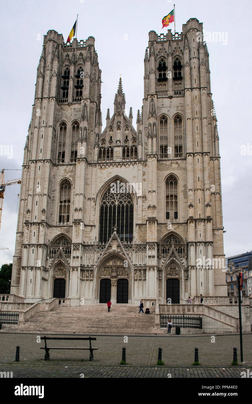 Cathedral of St. Michael and St. Gudula is a Roman Catholic Church in Brussels, Belgium. The church was given cathedral status in 1962 - Stock Image